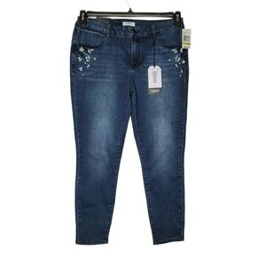 kensie Women's Pearl Embellished Jeans